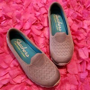 Gray Skechers Memory Foam Slip Ons Size 7